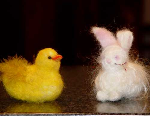 NEEDLE FELTED BUNNY AND CHICK