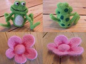 NEEDLE FELTED FROG AND FLOWER