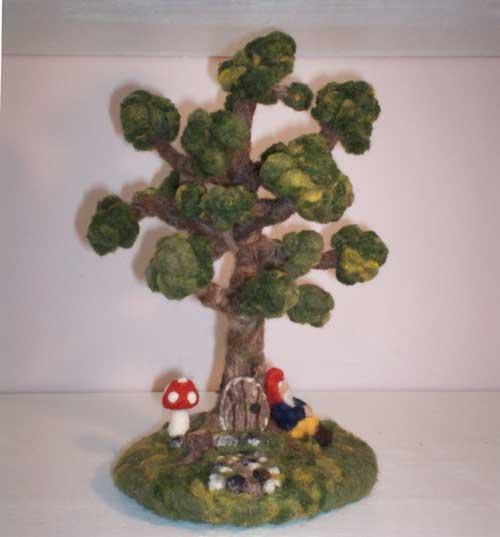 Needle Felted Gnome Tree by Melinda Cunningham