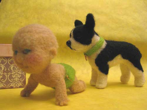 Needle Felted Baby and Puppy