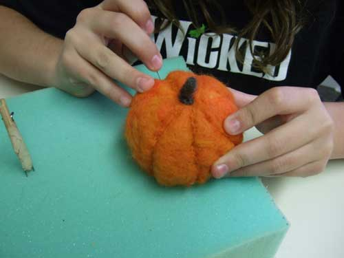Needle Felting a Pumpkin