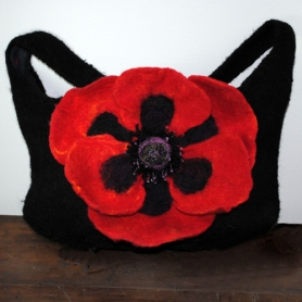 Felted Handbag with Felted Flower