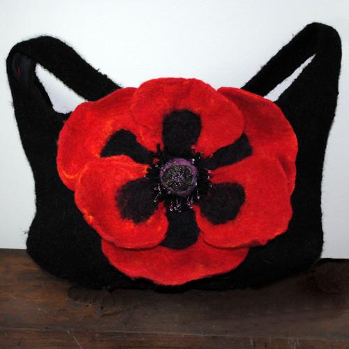 Felted Handbag with Felted Flower