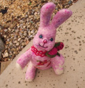 Needle felted bunny for crafts with purpose
