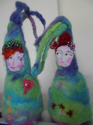 needle felted dolls - friends with dreads