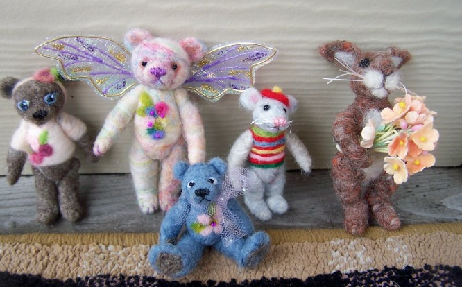 Needle Felted Bunny, bears and mouse