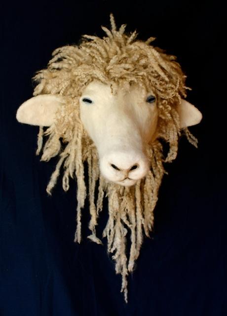 Needle felted goat head