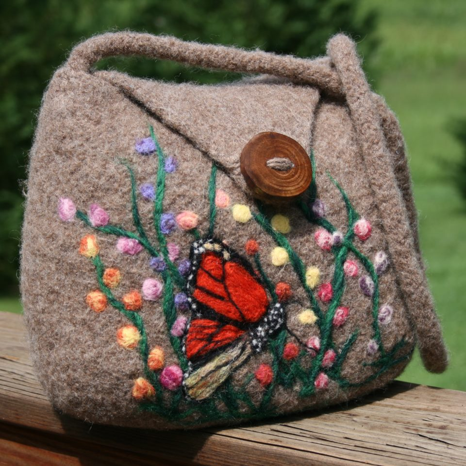 Woolen Crochet Purse : ... needle felting skills for lovely embellishments on her knitted work