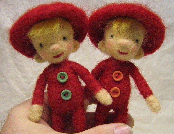 needle felted mushroom dolls