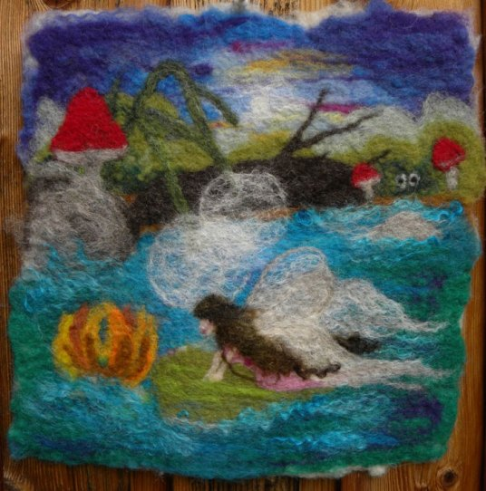 Needle and Wet Felted Wall Hanging