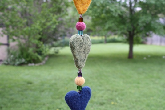 needle felted heart dangler