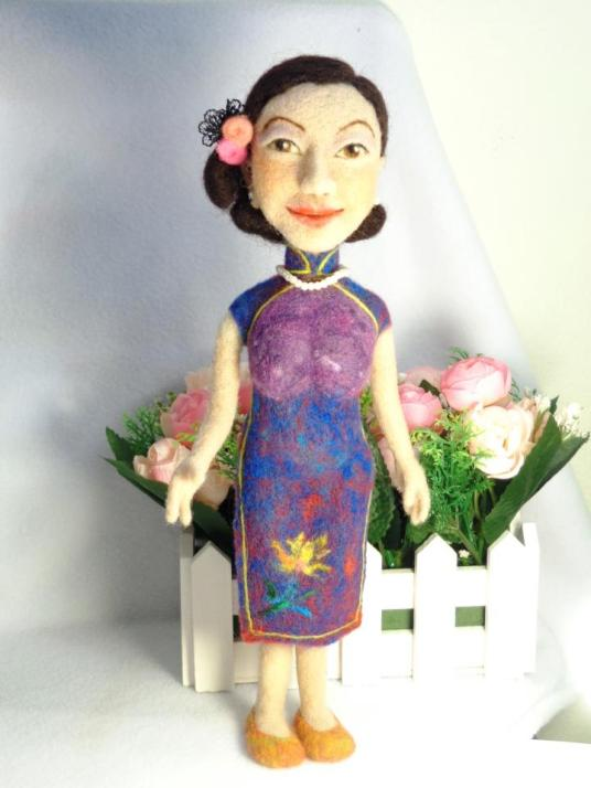 Needle Felted Doll Chinese Woman by Ying Sun
