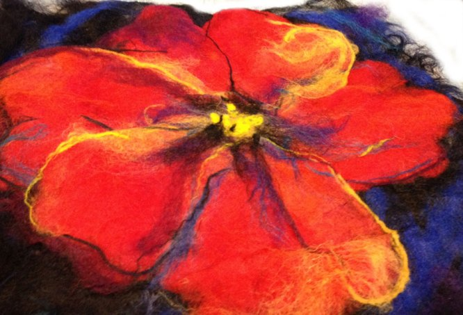 Wet Felted Fabric Flower Design