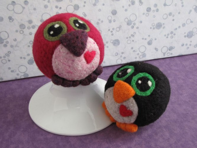 Needle Felted Love Birds for Valentines