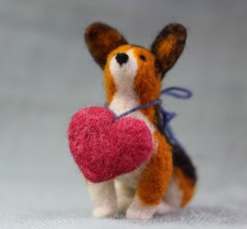 Needle Felted Dog Corgi with Heart