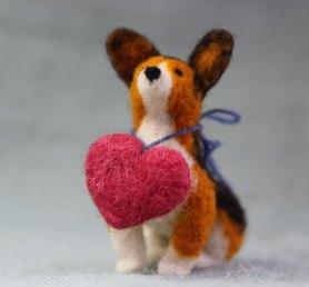 Needle Felted Dog Corgi with Heart