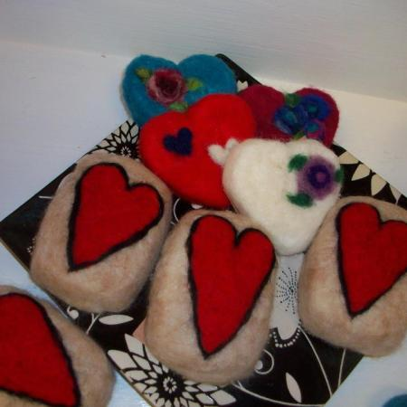 Wet Felted Heart Soaps