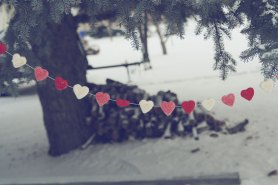 needle felted heart garland