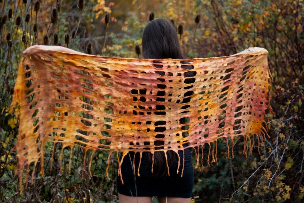 nuno felt lattice scarf shawl