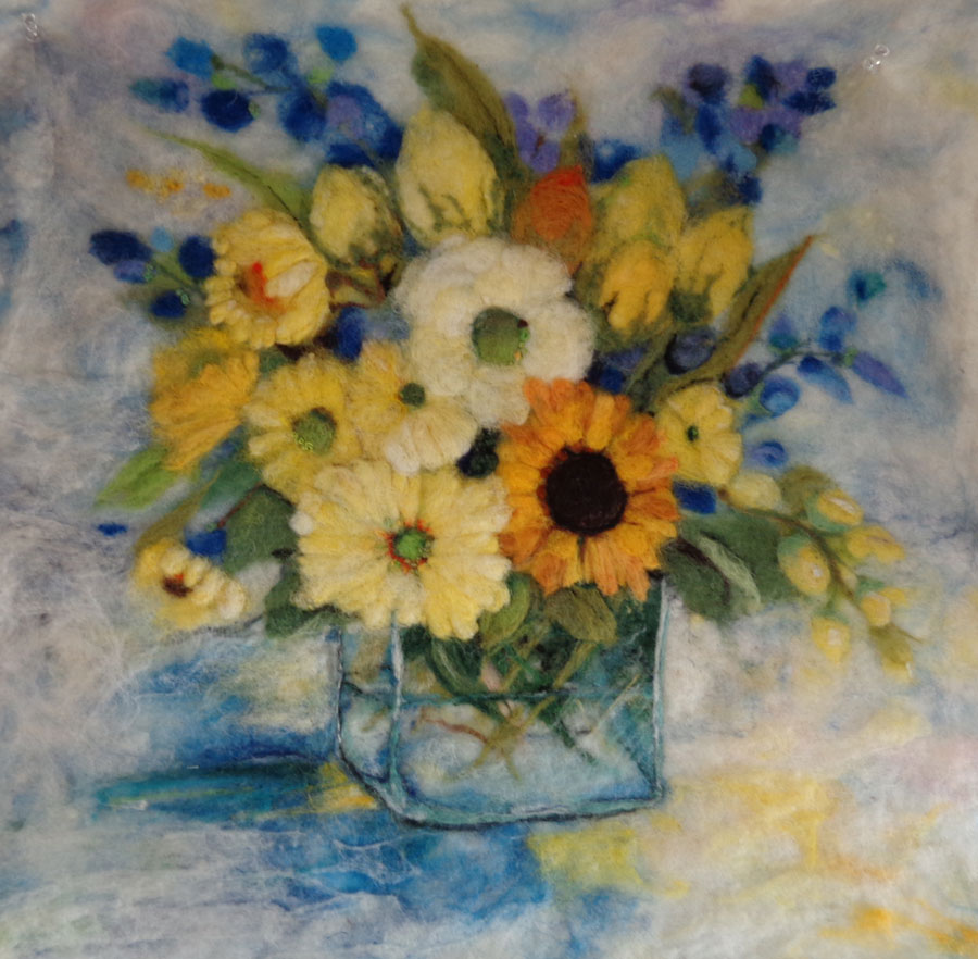 Felted flower wallhanging resembles a painting living felt blog felted flowers wall hanging izmirmasajfo Images