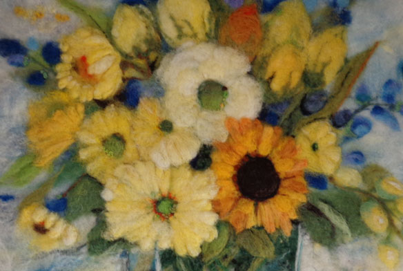 Felted Flower Wallhanging Resembles A Painting Living