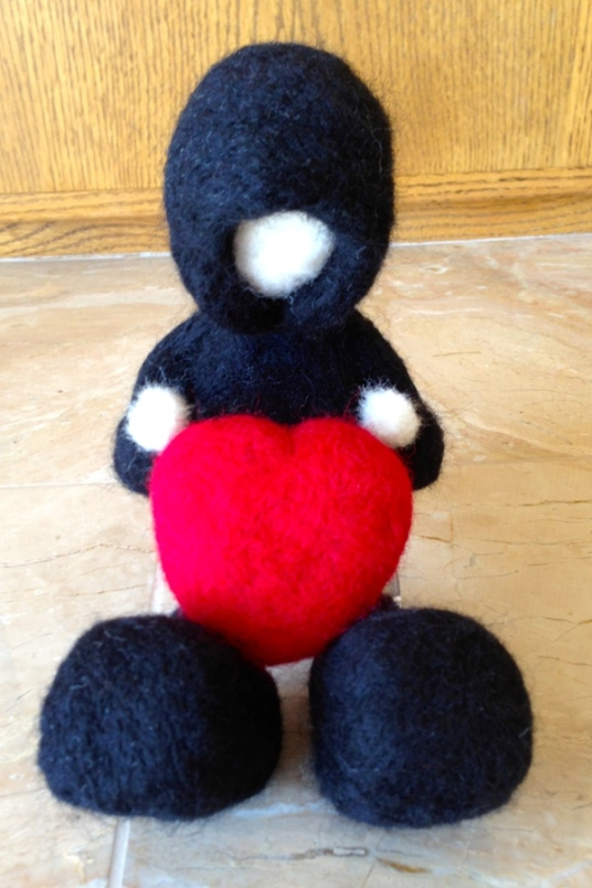 Needle Felted Child With heart