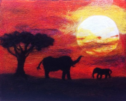 Wet Felted African Safari Elephants