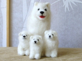 Needle Felted White Samoyed Dog