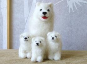 Needle Felted White Samoyed Dog