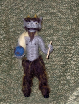 Needle Felted Satyr Named Buck with Earth