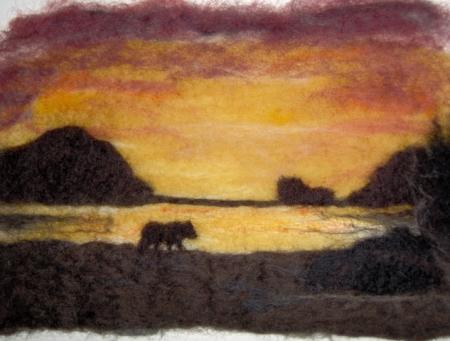 Wet Felted Beach Sunset Bear