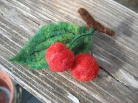 Needle Felted Red Cherries With Leaf and Stem