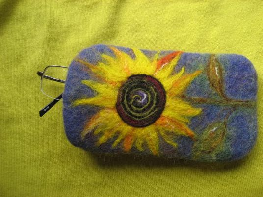 Wet and Needle Felted Glasses Case with Sunflower