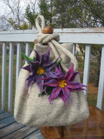 Wet and Needle Felted Flowers on Bag