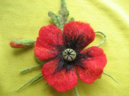Wet and Needle Felted Red Poppy Flower