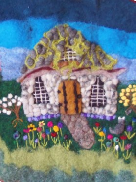 Wet and Needle Felted Gnome House