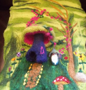 Wet and Needlefelted Wall Hanging Mushroom House