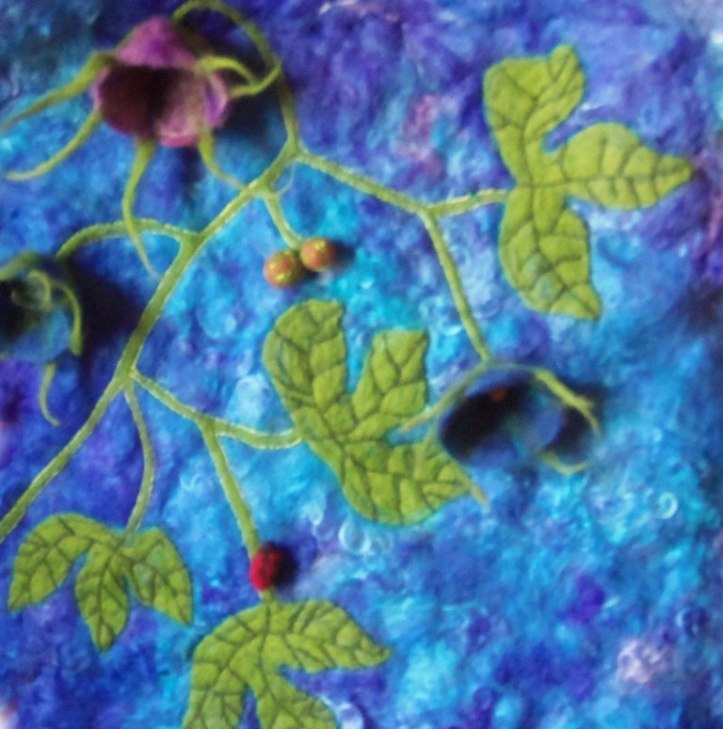 Wet and Needle Felted Vine Wall Hanging