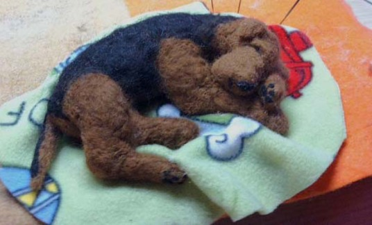 Needle Felted Arriedale Terrier Dog Chasing Squirrel