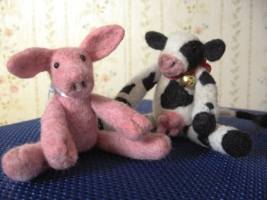 Needle Felted Cow With Bell and Pig