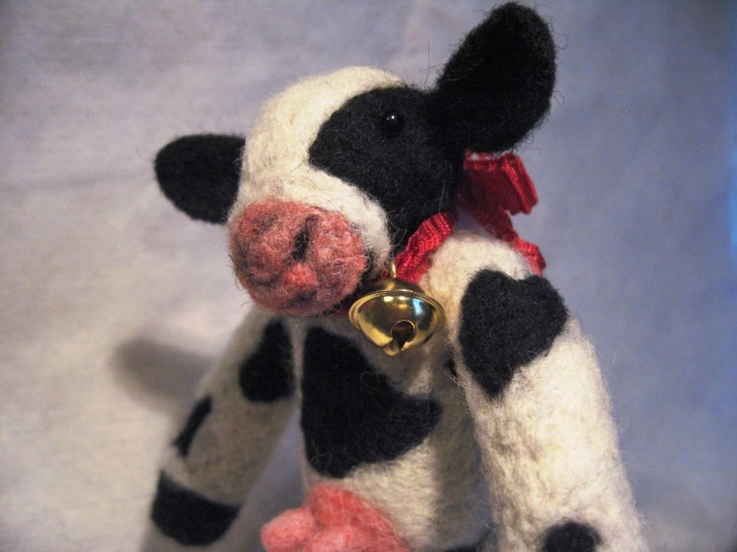 Needle Felted Cow With Bell