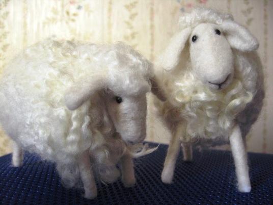Needle Felted White Sheep
