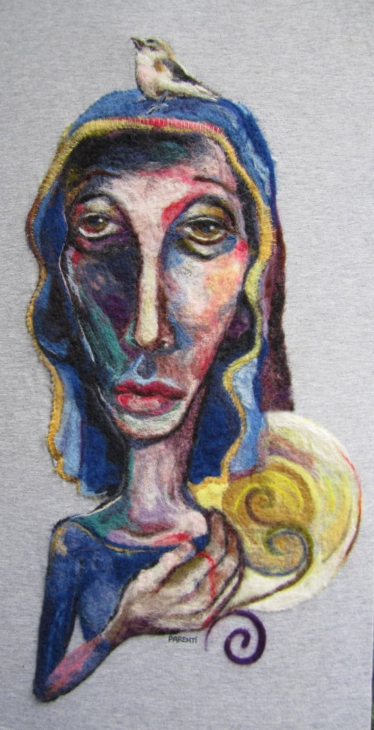 "Felted wool painting by Kathryn Parenti ""Icon"""