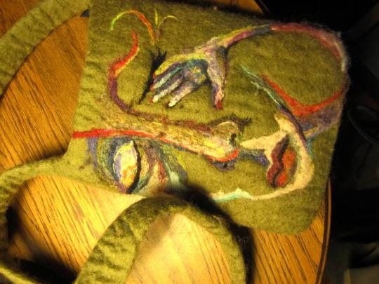 Wet Needle Felted Painting Purse Face with Hand