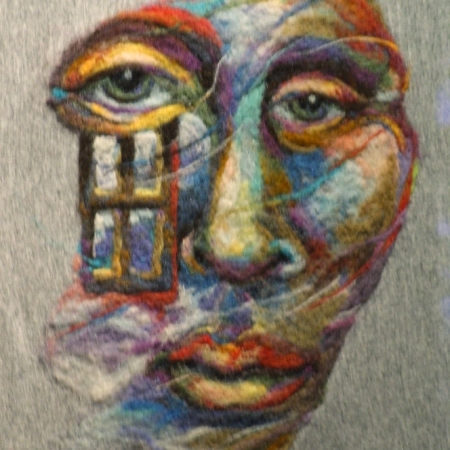 Wet Needle Felted Wall Hanging Painting The Watcher Face
