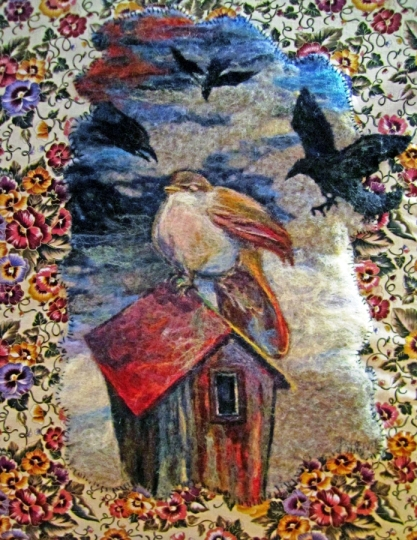 Wet Needle Felted Wall Hanging Painting Visitors Birds