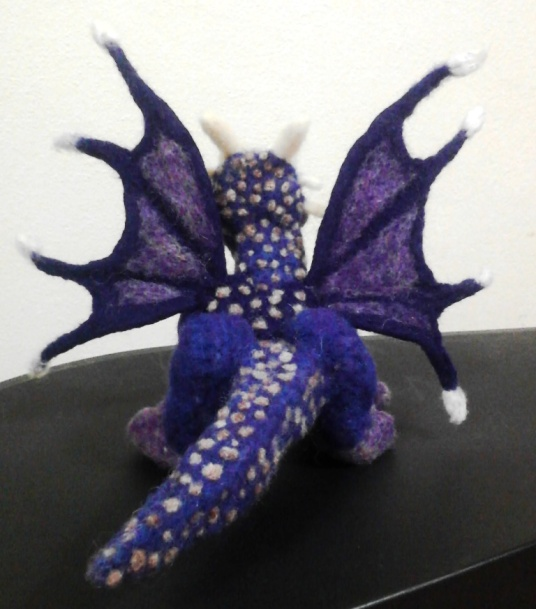 Needle Felted Purple Dragon With White Tips