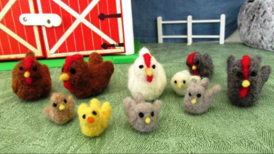 Needle Felted Farm Chickens