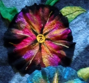 Wet Felted Flower Wall Hanging