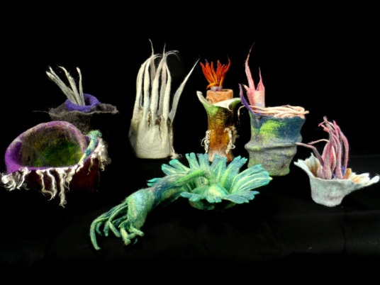Beautiful Ocean Inspired Needle Wet Felted Sculptures